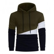 image of DRAWSTRING COLOR BLOCK PANEL FLEECE PULLOVER HOODIE (ARMY GREEN) L