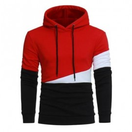 image of DRAWSTRING COLOR BLOCK PANEL FLEECE PULLOVER HOODIE (RED) L