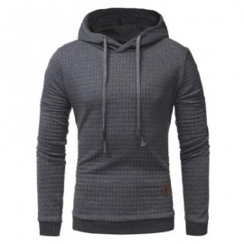image of HOODED DRAWSTRING APPLIQUE CHECKED EMBOSSING HOODIE (DEEP GRAY) XL