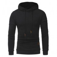 image of HOODED DRAWSTRING APPLIQUE CHECKED EMBOSSING HOODIE (BLACK) 3XL