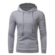 image of HOODED DRAWSTRING APPLIQUE CHECKED EMBOSSING HOODIE (LIGHT GRAY) XL