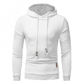image of HOODED DRAWSTRING APPLIQUE CHECKED EMBOSSING HOODIE (WHITE) XL