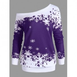 image of PLUS SIZE ONE SHOULDER CHRISTMAS SNOWFLAKE SWEATSHIRT (PURPLE) XL