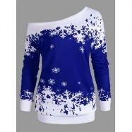image of PLUS SIZE ONE SHOULDER CHRISTMAS SNOWFLAKE SWEATSHIRT (BLUE) XL