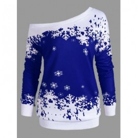 image of PLUS SIZE ONE SHOULDER CHRISTMAS SNOWFLAKE SWEATSHIRT (BLUE) XL