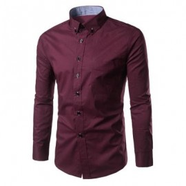 image of SLIM FIT BUTTON DOWN CASUAL SHIRT (WINE RED) 2XL