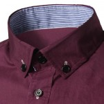 SLIM FIT BUTTON DOWN CASUAL SHIRT (WINE RED) 2XL