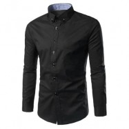 image of SLIM FIT BUTTON DOWN CASUAL SHIRT (BLACK) 2XL