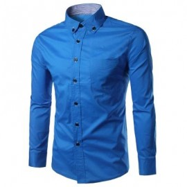 image of SLIM FIT BUTTON DOWN CASUAL SHIRT (LIGHT BLUE) M