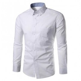 image of SLIM FIT BUTTON DOWN CASUAL SHIRT (WHITE) 2XL