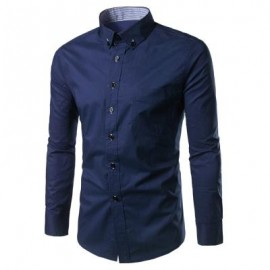 image of SLIM FIT BUTTON DOWN CASUAL SHIRT (PURPLISH BLUE) 2XL