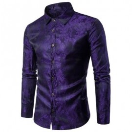 image of TURNDOWN COLLAR PAISLEY VINTAGE SHIRT (PURPLE) 2XL