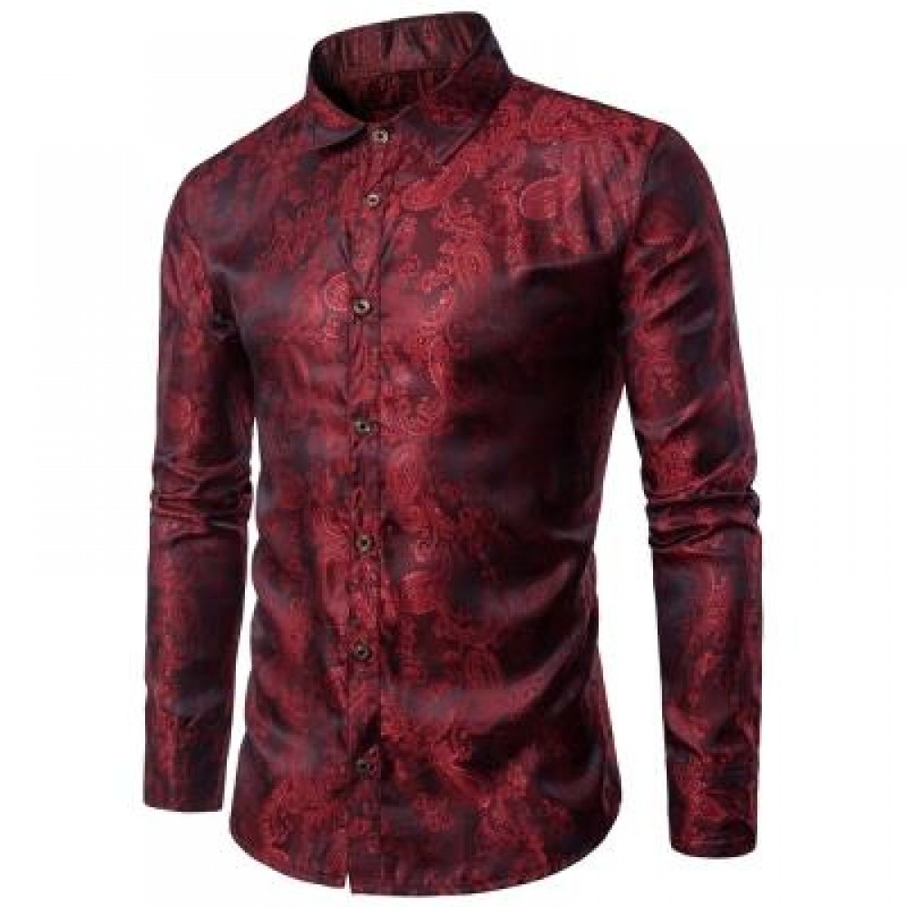 TURNDOWN COLLAR PAISLEY VINTAGE SHIRT (WINE RED) L