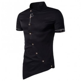 image of MANDARIN COLLAR SHORT SLEEVE EMBROIDERED NOVELTY SHIRT (BLACK) M