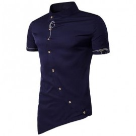 image of MANDARIN COLLAR SHORT SLEEVE EMBROIDERED NOVELTY SHIRT (PURPLISH BLUE) M