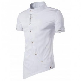image of MANDARIN COLLAR SHORT SLEEVE EMBROIDERED NOVELTY SHIRT (WHITE) L