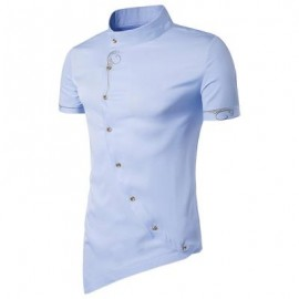 image of MANDARIN COLLAR SHORT SLEEVE EMBROIDERED NOVELTY SHIRT (CLOUDY) M