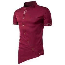 image of MANDARIN COLLAR SHORT SLEEVE EMBROIDERED NOVELTY SHIRT (RED) L
