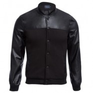 image of STYLISH PATCHWORK DESIGN SLIM FIT STAND COLLAR JACKET FOR MALE L