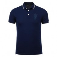 image of PATCH DESIGN BUTTONED HEM POLO SHIRT L