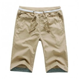 image of BREATHABLE ELASTIC WAIST DRAWSTRING MEN STRAIGHT SHORTS (KHAKI) 3XL