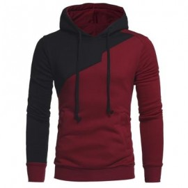 image of DRAWSTRING IRREGULAR PANEL FLEECE HOODIE (WINE RED) 3XL
