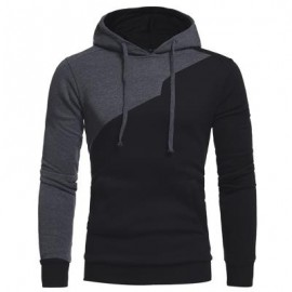image of DRAWSTRING IRREGULAR PANEL FLEECE HOODIE (BLACK) 3XL