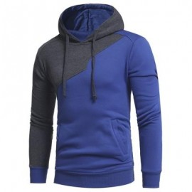 image of DRAWSTRING IRREGULAR PANEL FLEECE HOODIE (BLUE) 3XL