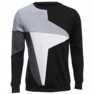image of CASUAL COLOR BLOCK LONG SLEEVE MALE PULLOVER SWEATER (BLACK) XL