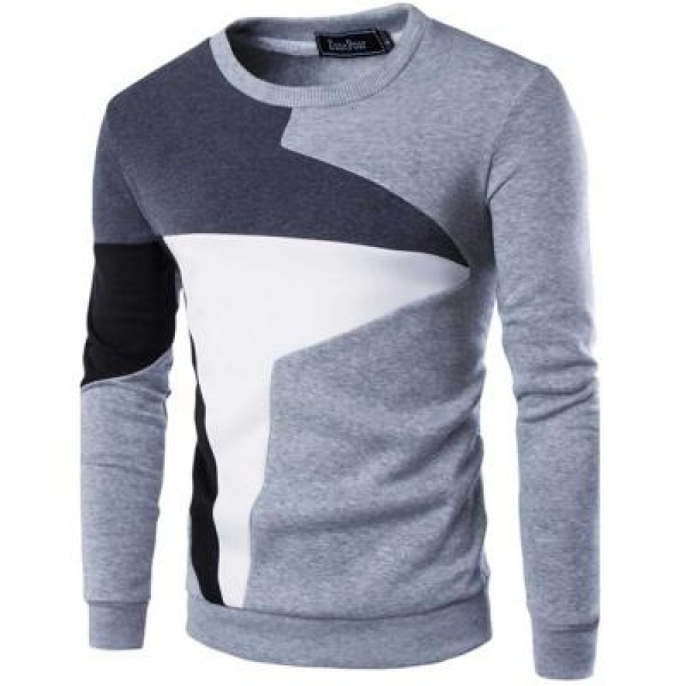 CASUAL COLOR BLOCK LONG SLEEVE MALE PULLOVER SWEATER (GRAY) XL