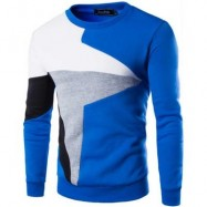 image of CASUAL COLOR BLOCK LONG SLEEVE MALE PULLOVER SWEATER (BLUE) M