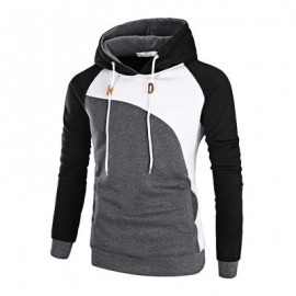 image of COLOR BLOCK RAGLAN SLEEVE FLEECE HOODIE (BLACK) XL