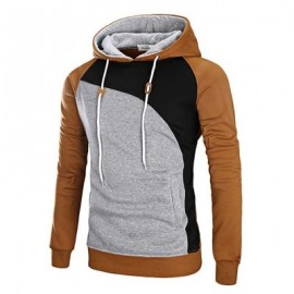 image of COLOR BLOCK RAGLAN SLEEVE FLEECE HOODIE (CAMEL) XL