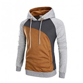 image of COLOR BLOCK RAGLAN SLEEVE FLEECE HOODIE (GRAY) XL