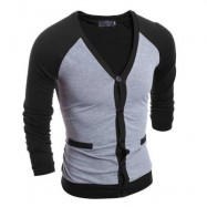 image of CASUAL PATCHWORK V NECK MALE LONG SLEEVE SHIRT (GRAY) L