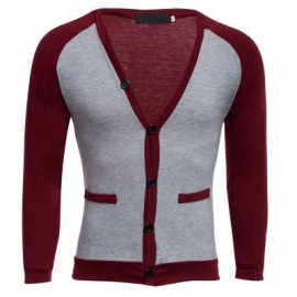 image of CASUAL PATCHWORK V NECK MALE LONG SLEEVE SHIRT (WINE RED) L