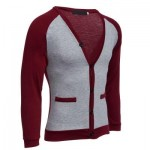 CASUAL PATCHWORK V NECK MALE LONG SLEEVE SHIRT (WINE RED) L