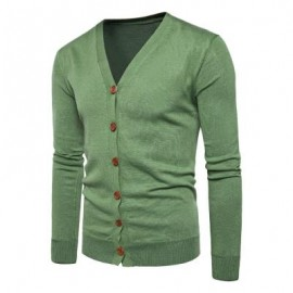 image of V NECK KNITTING BUTTON UP CARDIGAN (GREEN) L