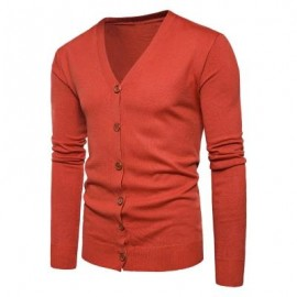 image of V NECK KNITTING BUTTON UP CARDIGAN (JACINTH) L