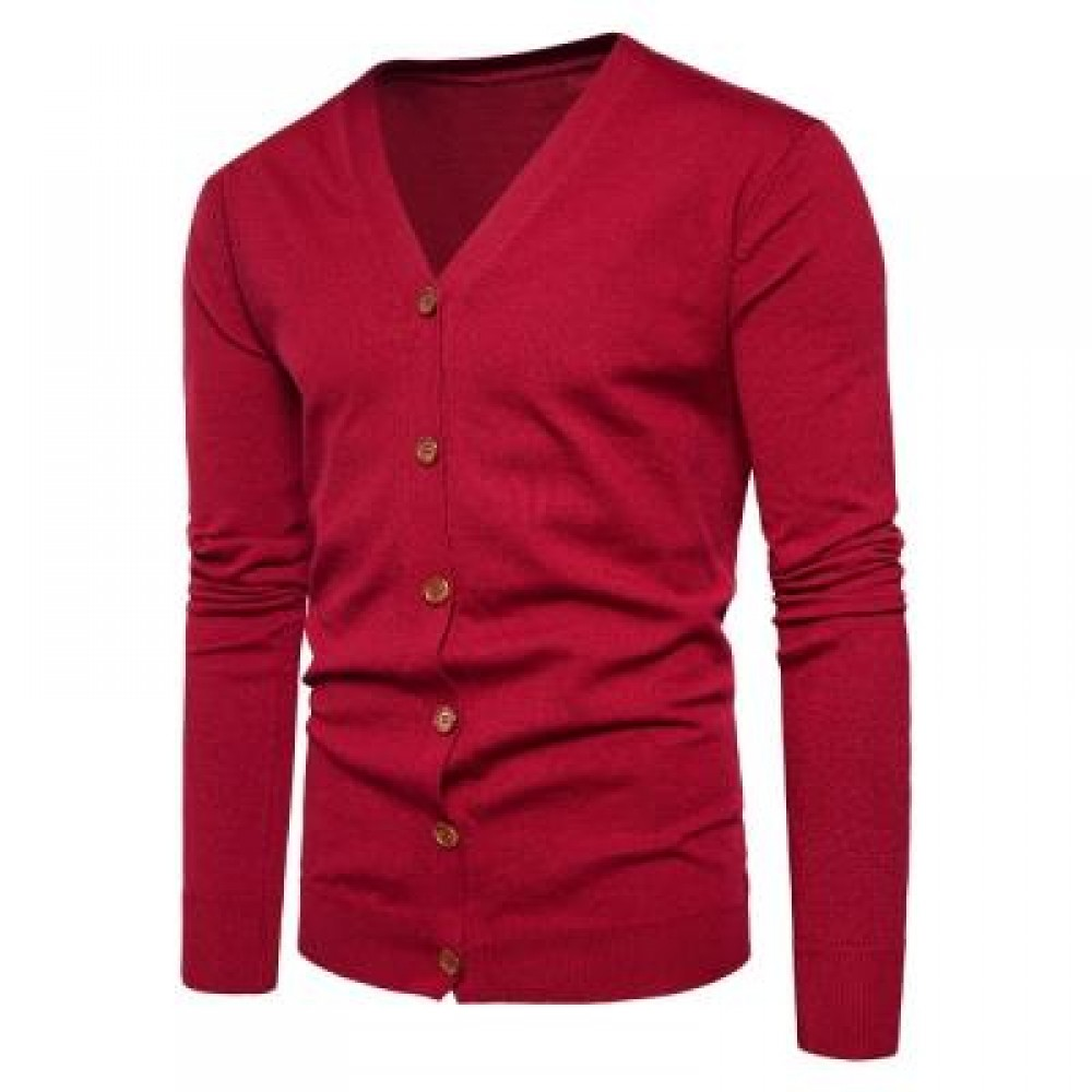 V NECK KNITTING BUTTON UP CARDIGAN (RED) L