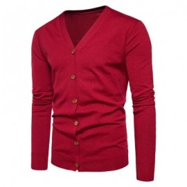 image of V NECK KNITTING BUTTON UP CARDIGAN (RED) L
