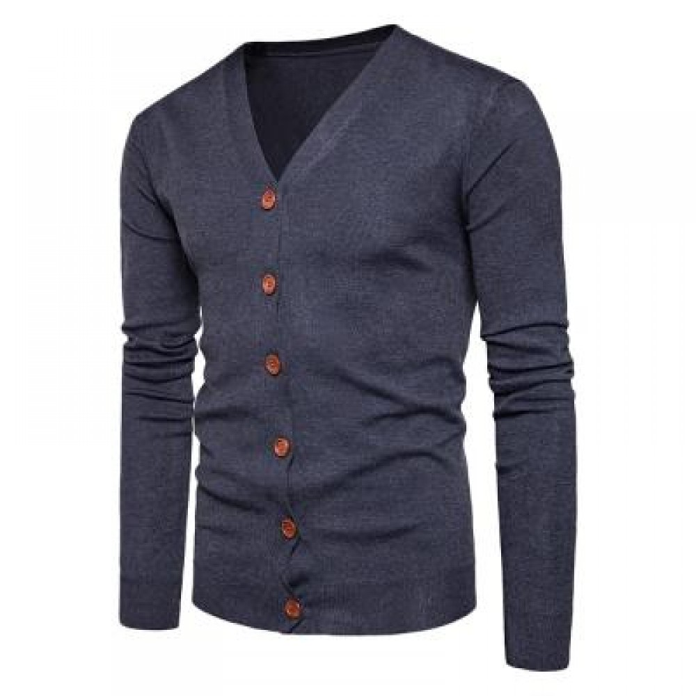 V NECK KNITTING BUTTON UP CARDIGAN (DEEP GRAY) L