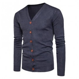 image of V NECK KNITTING BUTTON UP CARDIGAN (DEEP GRAY) L
