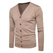 image of V NECK KNITTING BUTTON UP CARDIGAN (KHAKI) L
