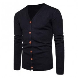 image of V NECK KNITTING BUTTON UP CARDIGAN (BLACK) L