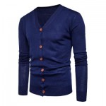 V NECK KNITTING BUTTON UP CARDIGAN (CADETBLUE) L