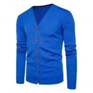 image of V NECK KNITTING BUTTON UP CARDIGAN (ROYAL) L