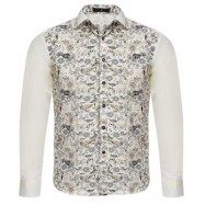 image of STYLISH FLORAL PRINT SLIM FIT PATCHWORK MALE LONG SLEEVE SHIRT (OFF-WHITE) L