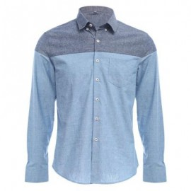 image of SLIM PATCHWORK BUTTON DESIGN MALE LONG SLEEVE CASUAL SHIRT M