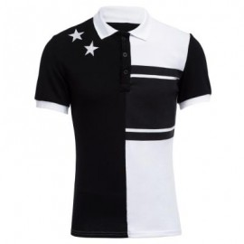 image of COLOR BLOCK STARS DESIGN TURN-DOWN COLLAR SHORT SLEEVE MEN CASUAL SHIRT (WHITE AND BLACK M/L/XL) XL